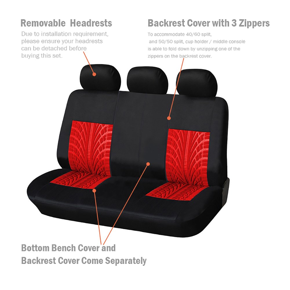 9PCS Black//Gray AODELAI CO AUTOYOUTH Car Seat Covers Universal Fit Full Set Car Seat Protectors Tire Tracks Car Seat Accessories LIMITED