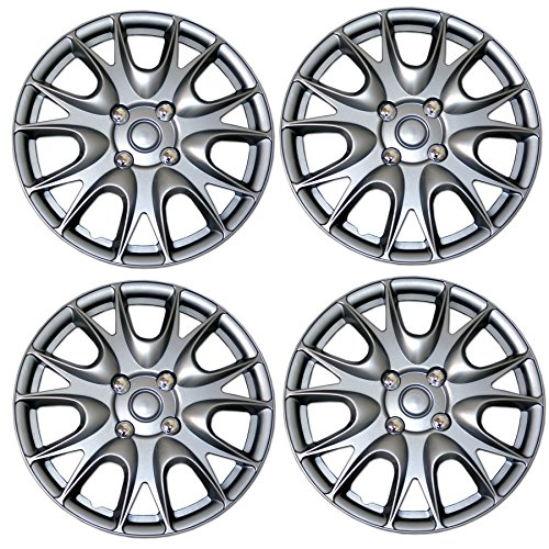(TuningPros WSC3-533S14 4pcs Set Snap-On Type (Pop-On) 14-Inches Metallic Silver Hubcaps Wheel Cover)