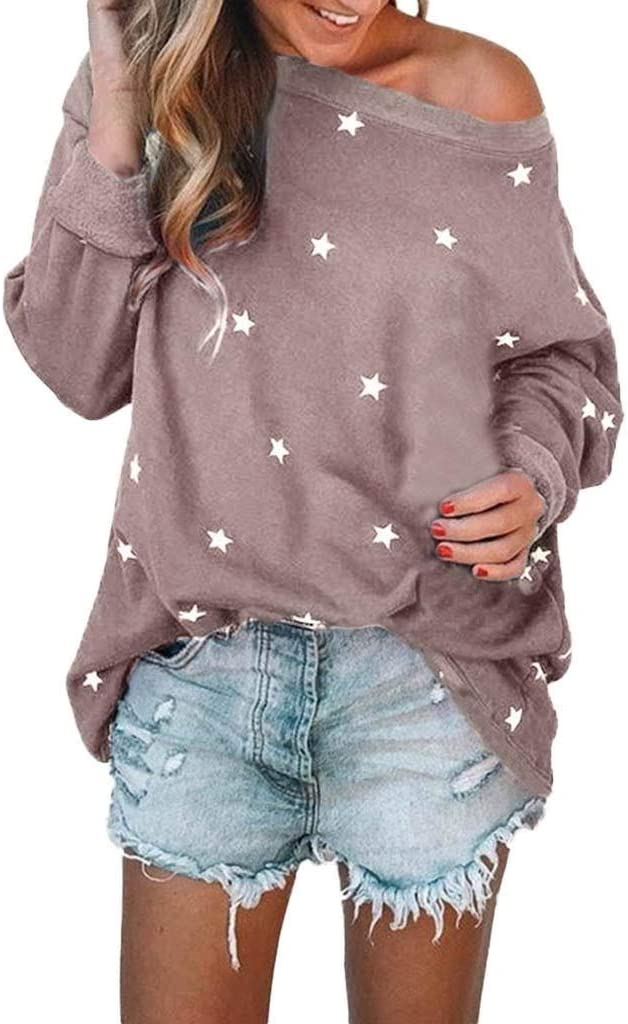 Womens Tops Bummyo Ladies Loose Casual Blouses Long Sleeve Cotton Star Pattern Sweat T-Shirt Blouses Tunic Tops