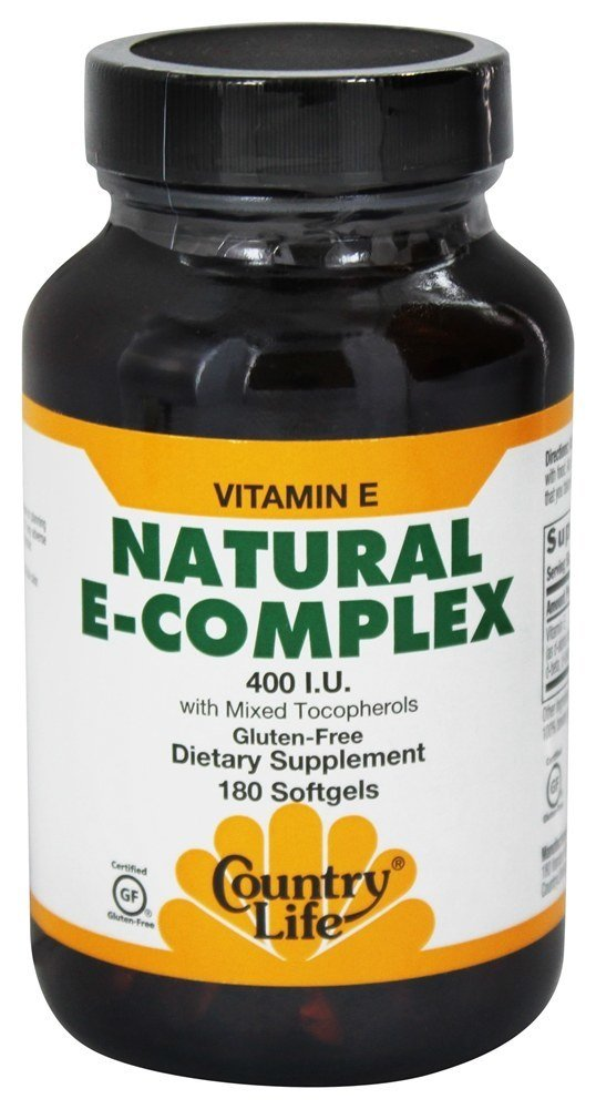 Country Life - Natural Vitamin E-Complex - 400 IU with Mixed Tocopherols - 180 Softgels by Country Life
