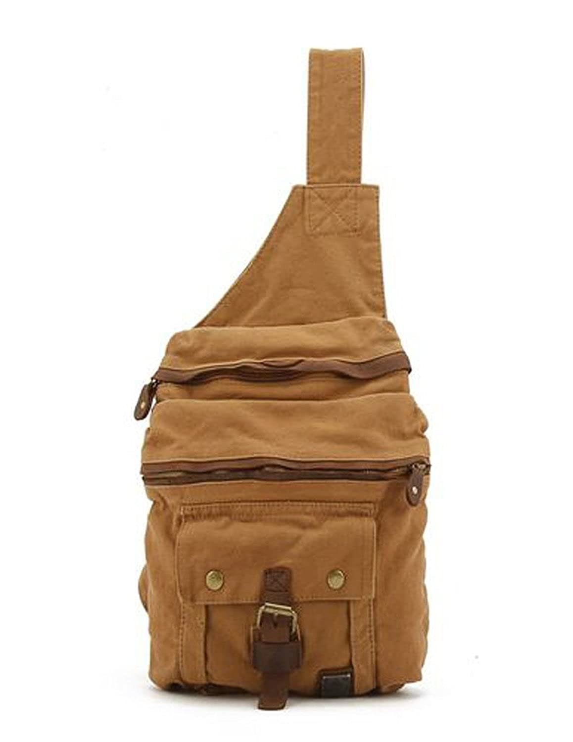 Whatland Leather Canvas Trim Casual Sling Backpack Cross Body Shoulder Bag