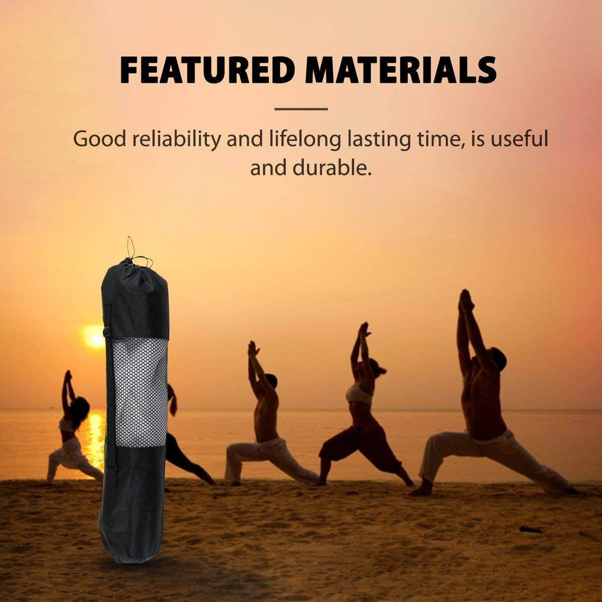 Greatangle Tragbare Yoga Pilates Matte Nylontasche Carrier Mesh Center Verstellbarer Gurt Tragetasche Rolling Type Vaccum Compressed Bags Schwarz