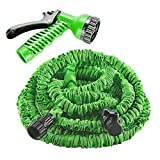 Garden Hose, izery Flexible Expandable Expanding Collapsible Garden & Lawn Water Hose with Free 7-way Spray Nozzle for Car Wash Cleaning Watering Lawn Garden Plants (Green) (50ft)