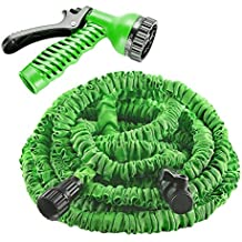 Garden Hose, izery Flexible Expandable Expanding Collapsible Garden & Lawn Water Hose with Free 7-way Spray Nozzle for Car Wash Cleaning Watering Lawn Garden Plants (Green) (25ft)