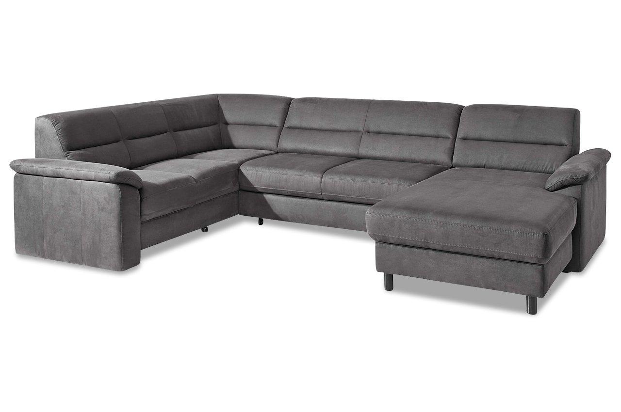 Sofa Couch Premium Leder Wohnlandschaft Alice Grau Mit Federkern