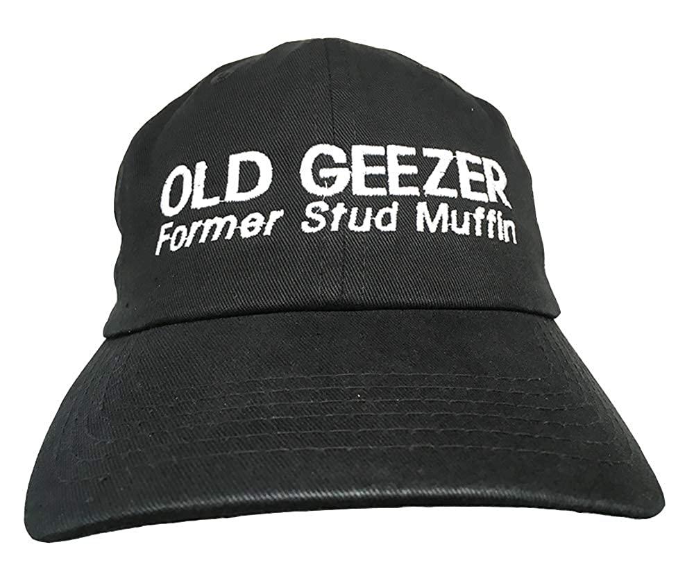 Amazon.com  KNBC Graphics Old Geezer Former Studmuffin - Black Embroidered  Ball Cap  Clothing cd77fe18058