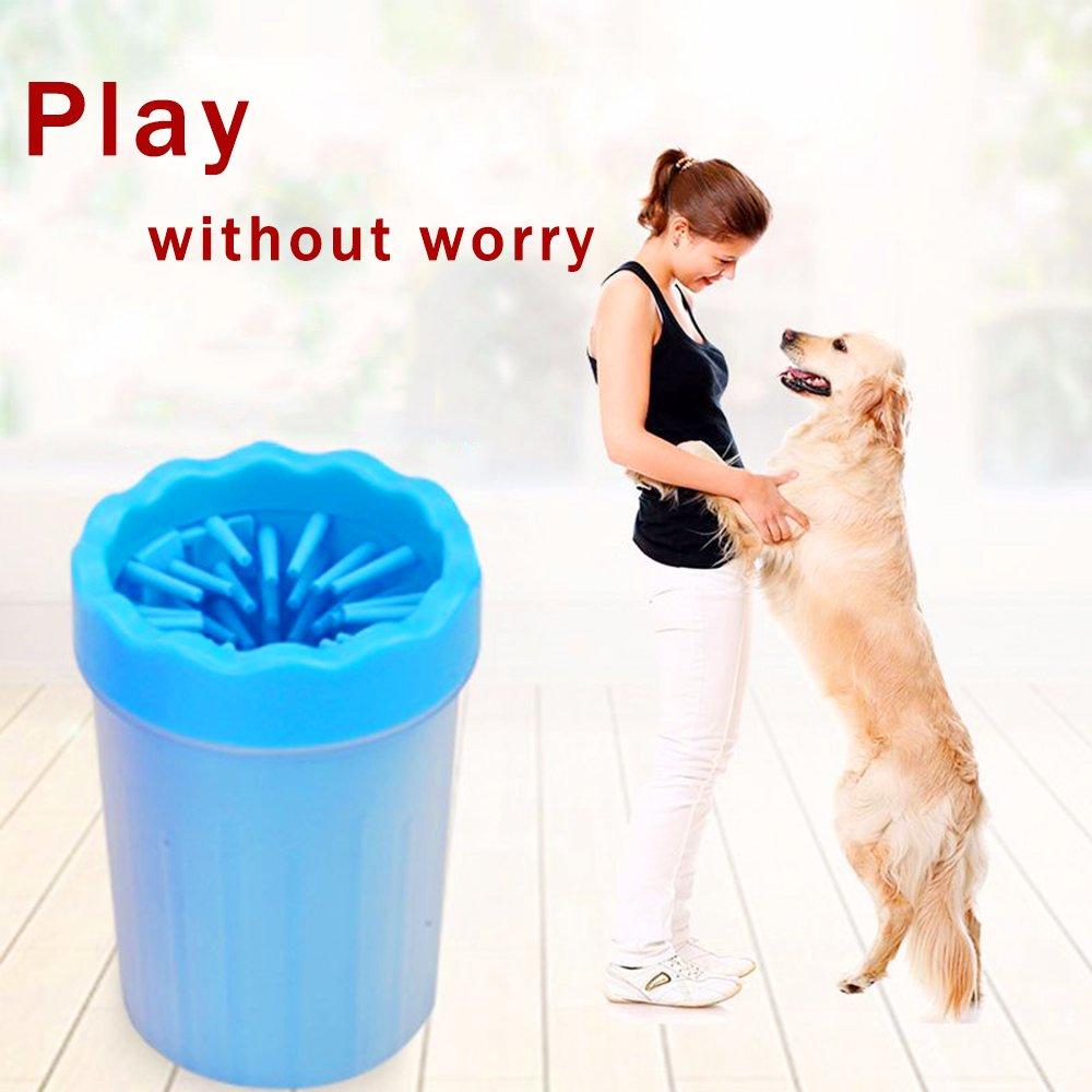 Pulitore per animali domestici, pulitore per cani portatile. Tazza di detergente per piedi per cani e gatti in silicone - blu