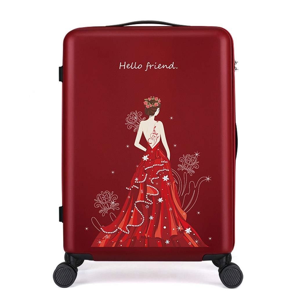 FRF トロリーケース- 学生の方法トロリースーツケース20インチ、普遍的な車輪のスーツケースの結婚式の持参金箱24インチ (色 : Red D, サイズ さいず : 24in) 24in Red D B07R1Q7JCD