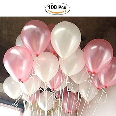 PuTwo Ballon Gonflable Lot de 100 30CM Décoration de Fête Pour Mariage Anniversaire Baby Shower – Rose et Blanc