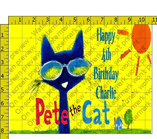 Pete the Cat Personalized Birthday Edible Frosting Image 1/4 sheet Cake Topper -