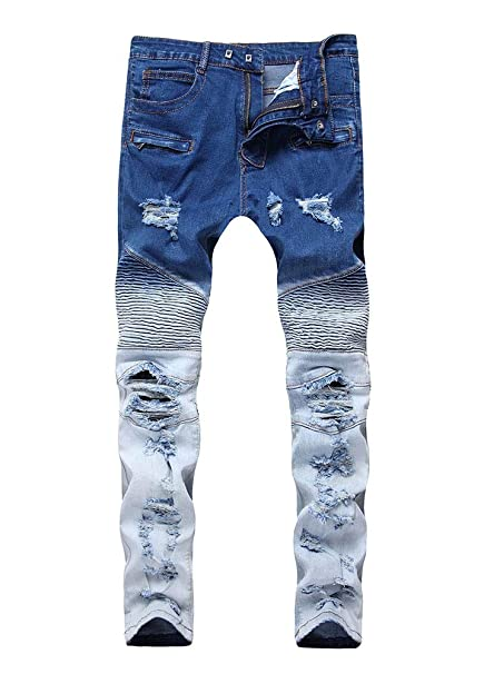 Amazon.com : Versaces Men Jeans Locomotive Zipper Tight Two ...