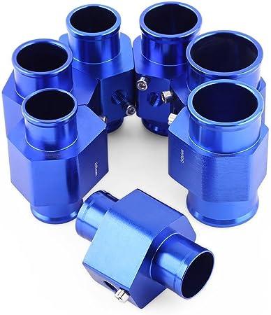 Keesno Sonde Temp/érature de lEau Tuyau Universel en Alliage Aluminium Joint de Tuyau de Radiateur Bleu 26mm 40mm Adaptateur de Capteur de Temp/érature 26MM