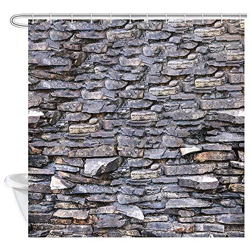 (DYNH Brick Wall Wallpaper Shower Curtain Stone Rock Wall, Rough Grunge Weathered Brick Wall Rustic Nature Bath Curtains, Shower Curtain for Bathroom Accessories 12PCS Hooks, Bathtub Curtain 69X70 in)