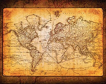 Amazon world map antique vintage old style decorative world map antique vintage old style decorative educational poster print 16x20 unframed gumiabroncs