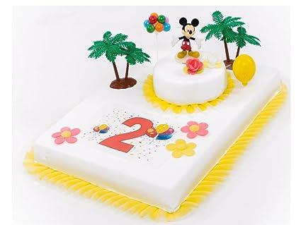 Decoracin para tartas de 2 cumpleaos Mickey Mouse 11 piezas tarta