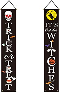 Halloween Decorations Outdoor | Trick or Treat & It's October Witches Halloween Signs for Front Door or Indoor Home Decor | Porch Decorations | Halloween Welcome Signs