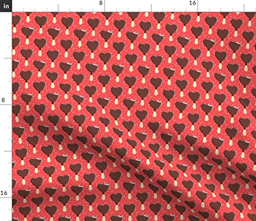 - Spoonflower Heart Fabric - Heart Valentines Day Polka Dots Icecream Baby Girl Chocolate Icecream by Littlearrowdesign Printed on Minky Fabric by The Yard