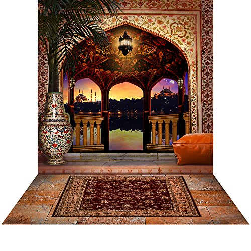 Photography Backdrop with Floor - Arabian Balcony - 10x20 Ft. Seamless Fabric