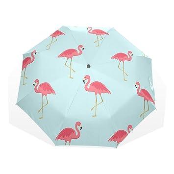 GUKENQ - Paraguas de Viaje, diseño de flamencos Rosas, Ligero, antirayos UV,