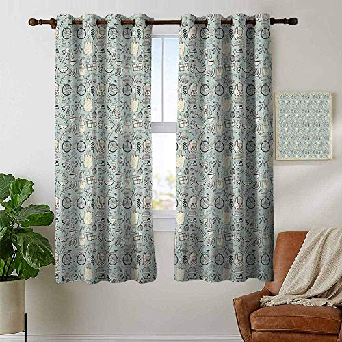 petpany Room Darkening Wide Curtains Doodle,Summer Good Mood Illustration with Flowers Bicycle Backpack and Food,Pale Almond Green Cream,Light Blocking Drapes with Liner 52