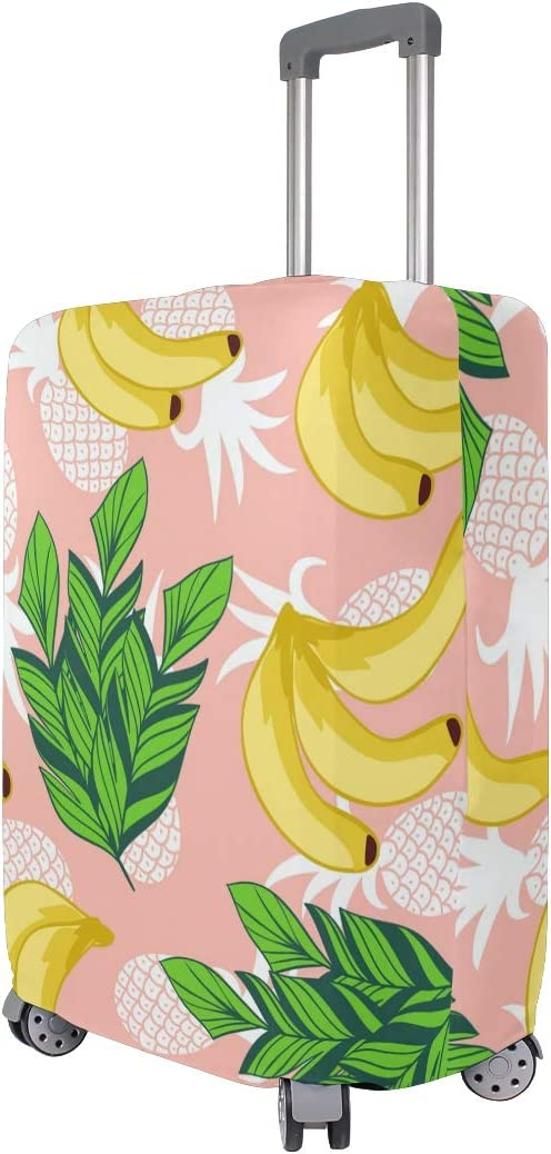 FOLPPLY Tropical Banana Pineapple Luggage Cover Baggage Suitcase Travel Protector Fit for 18-32 Inch