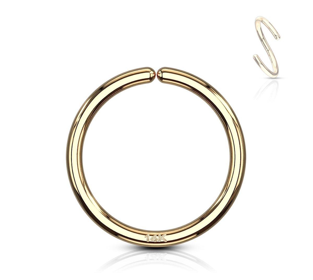 Forbidden Body Jewelry 20g 8mm Solid 14K Yellow Gold Hoop Ring for Nose and Cartilage Piercings by Forbidden Body Jewelry