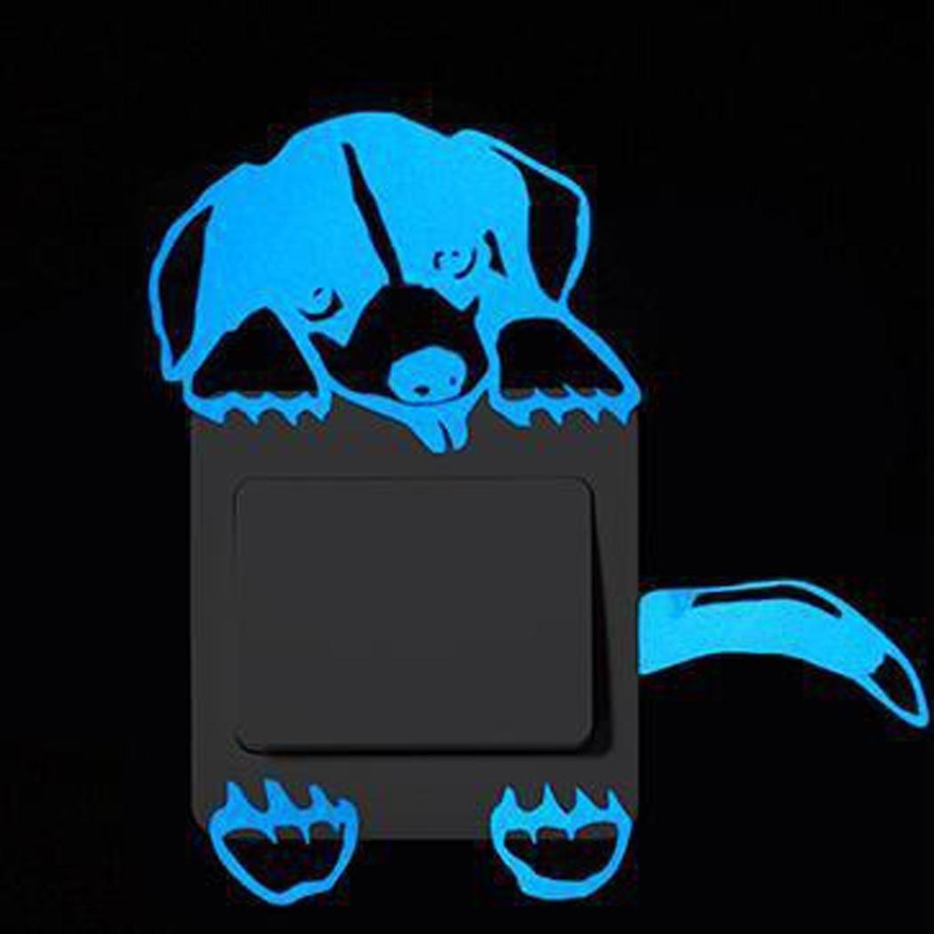 A Hogar y Cocina Pegatinas Pared Linda Pegatina Interruptor Etiqueta engomada Luminosa del Interruptor de Historieta Pegatinas de Pared Fluorescentes Pegatina removible