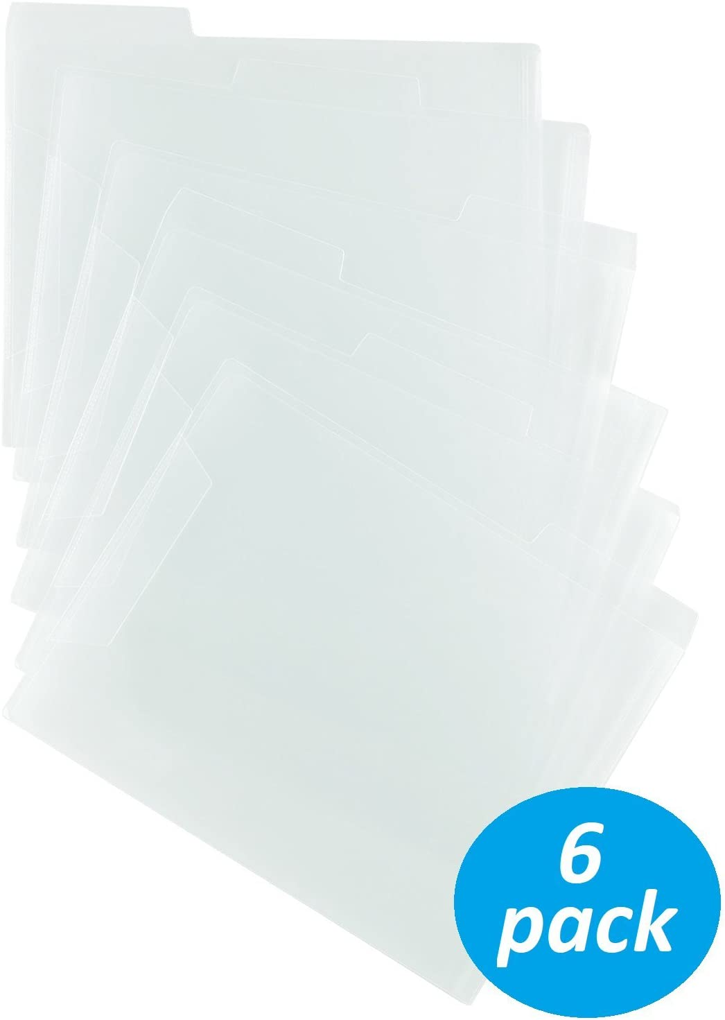 Staples Translucent Poly File Folders Clear 6//Pack 576460