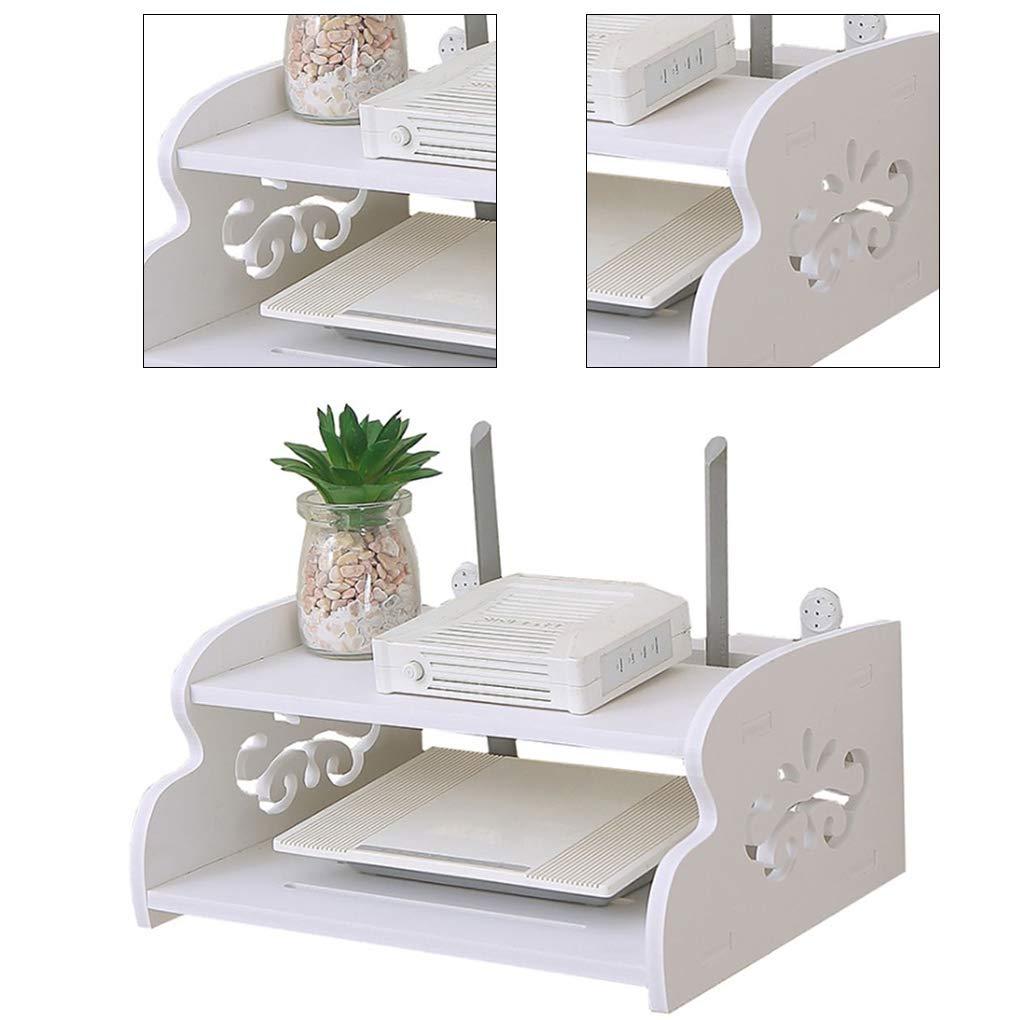 PRENKIN Double Layer Holder Storage Router Rack Home TV Box Rack di stoccaggio mensole da Parete Living Room Sundries Organizer