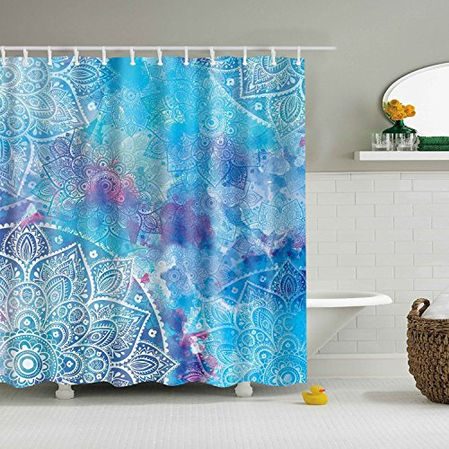 BROSHAN Mandala Shower Curtain Blue,Watercolor Paisley Flower Boho Tribe Floral Modern Ombre Art Printed,Polyester Waterproof Fabric Bathroom Decor Set with Hooks,72x72 Inch,Blue and White