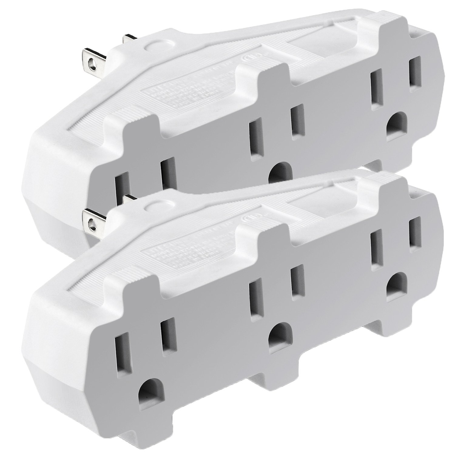 3 Outlet Wall Adapter Tap (2 Pack), Fosmon 3-Prong Grounded Indoor AC Mini Plug, ETL Listed with Phone Charging Station Holder - White