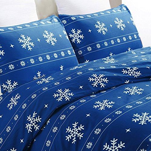 Vaulia Lightweight Microfiber Duvet Cover Set, Snowflake Pattern Design, Blue Color - Full/Queen Size
