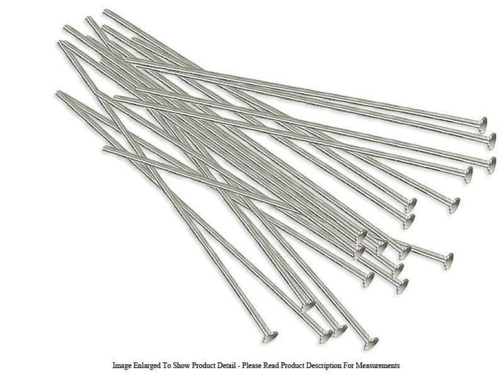 Sterling Silver Plated 24 Gauge Head Pins 1 1//2 Long Wire Jewelry Findings 20