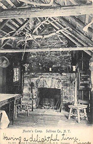 Sullivan County New York Hunters Camp Fireplace Interior Antique Postcard K79185