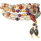 6mm Natural Colorful Crystal Quartz Beads Buddhist Prayer Mala Necklace Bracelet