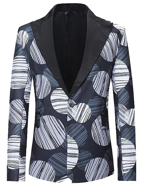 61aab3fdacd ouxiuli Men s Business Dress Floral Suit Notched Lapel Slim Fit Stylish  Blazer Dress Suit at Amazon Men s Clothing store