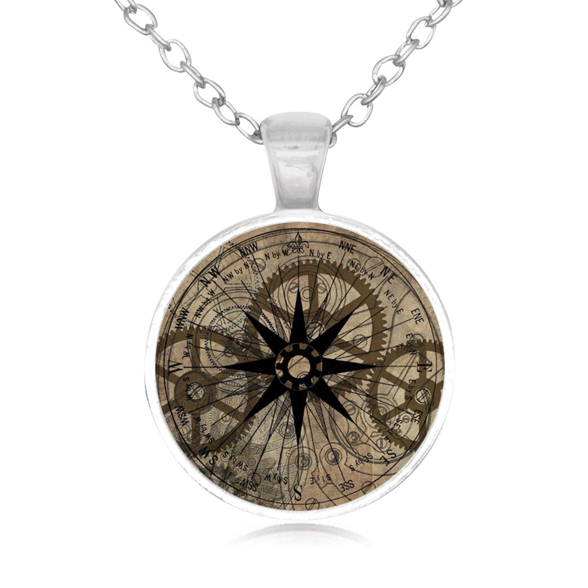Lightrain Retro Gear on Compass Pendant Necklace Vintage Bronze Chain Statement Necklace Handmade Jewelry Gifts