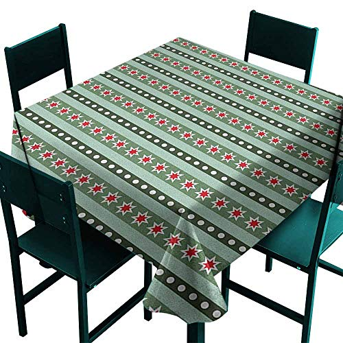 Sunnyhome Spill-Proof Table Cover Geometric Stars Stripes and Polka Dots Pattern Ornamental Christmas Motifs for Banquet Decoration Dining Table Cover 70x70 Inch Hunter and Almond Green Red