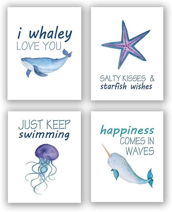 ScottDecor Kids Aquarium Background Sticker Funny Sea Animals Underwater Ocean View with Sail Boat Palm Trees Cartoon Artwork Home Fish Tank Backdrop Multicolor L48 X H24 Inch
