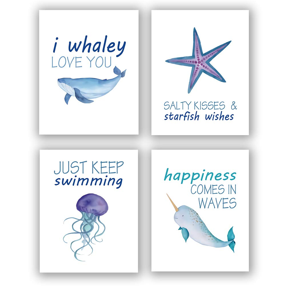 "Homdeco Sea Life Art Print Set of 4 (8""X10"" Ocean Animals Wall Art Painting,Shark Starfish Jellyfish Whale Art, Canvas Wall Art Poster for Kids Bathroom Nursery Decor, No Frame"