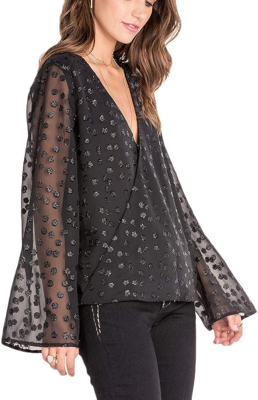 Miss Me MMT0853L Black Jacquard Dot Bell Sleeve Top