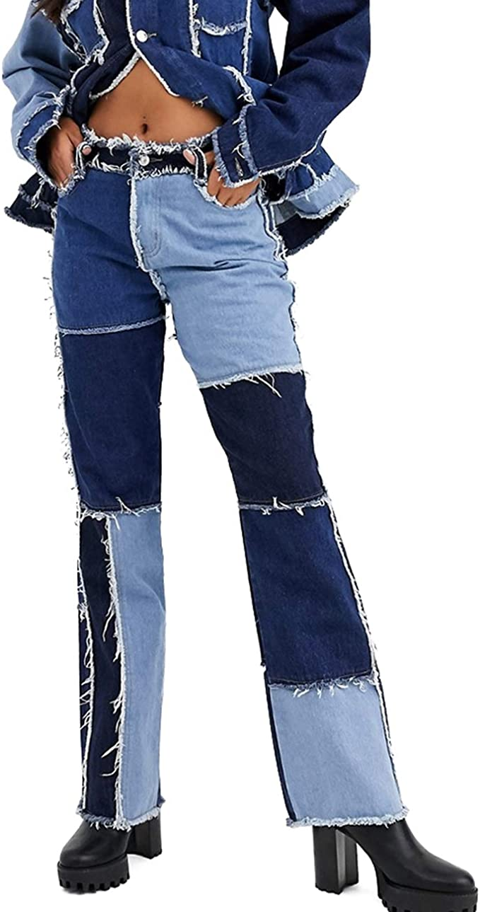 Stretchy Flare Jeans Ladies Trousers Patchwork Denim Jean Pants