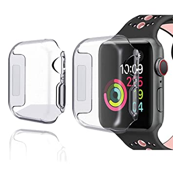the latest de341 1b351 Apple Watch Series 4 44mm Case [2 Pack] iWatch Screen Protector Cover  Crystal Clear Protective TPU Ultra Thin Case for 2018 New Apple Watch  Series 4 ...