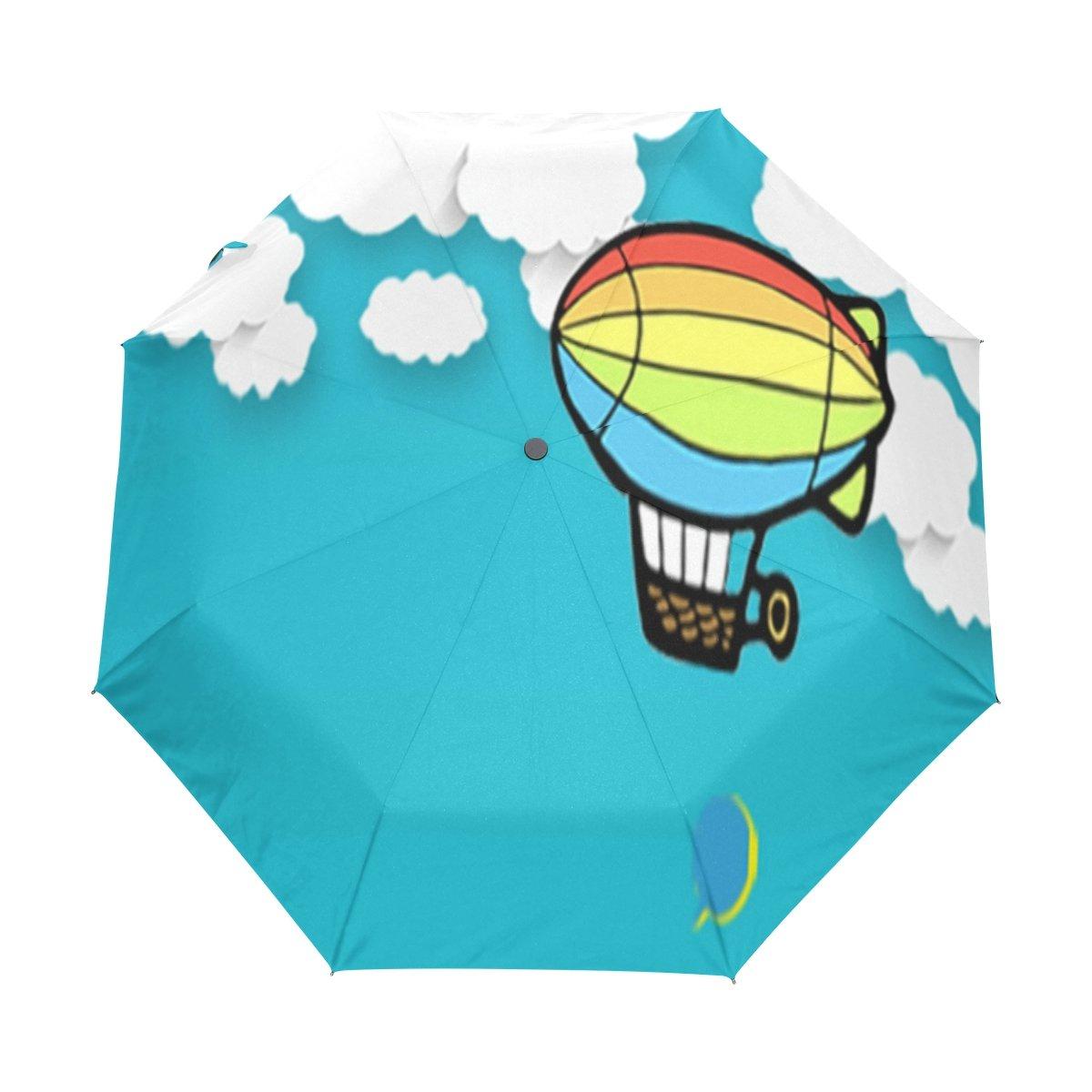 Senya Saobao防風と防雨トラベル傘with自動開いて閉じFolding熱気球船ポータブル折りたたみ式太陽雨傘 B07FCYZ3NY
