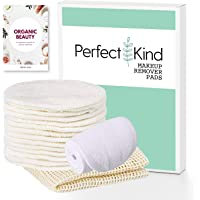 Perfect Kind - Reusable Makeup Remover Pads Bundle With Bonus eBook - 14 Washable Bamboo Pads For Easy Makeup Removal - Soft Eco-Friendly Facial Wipes - Suitable For All Skin Types - Includes Cotton Laundry Bag & Spa Headband
