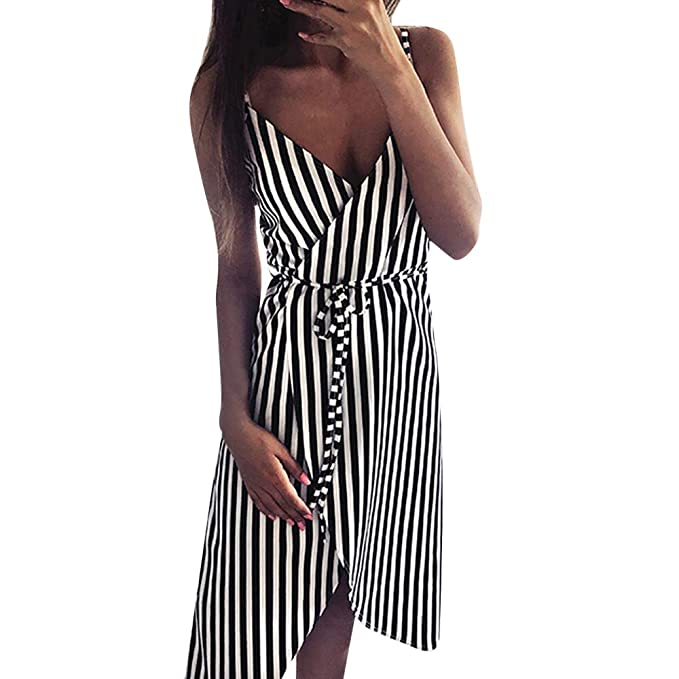 afbdacd4099c Salaks Women Stripe Printing Dress Summer Sleeveless Off Shoulder Midi Dress  Black
