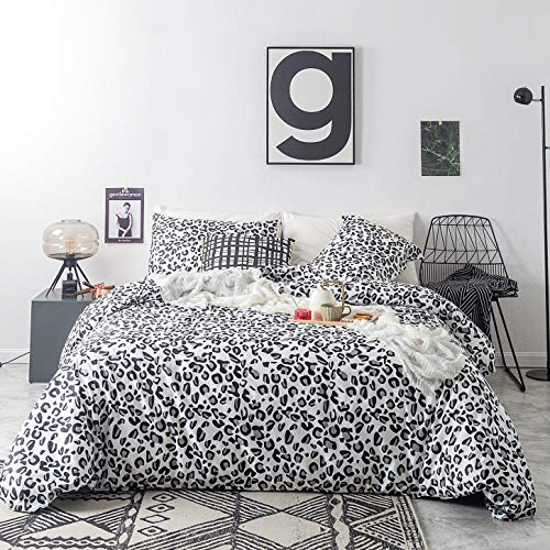 SUSYBAO 3 Piece Duvet Cover Set 100% Cotton Queen Size Black and White Leopard Pattern Bedding Set with Zipper Ties 1 Wild Animal Print Duvet Cover 2 Pillowcases Luxury Quality Soft Lightweight (Luxury Animal Bedding Print)
