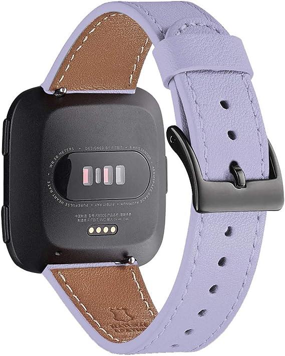 Image of WFEAGL Compatible con la Correa Fitbit Versa 2,Correa de Repuesto de Banda de Cuero de Grano Superior para Fitbit Versa/Fitbit Versa 2/Versa Lite/Versa SE Fitness Smart Watch(Violeta/Negro)