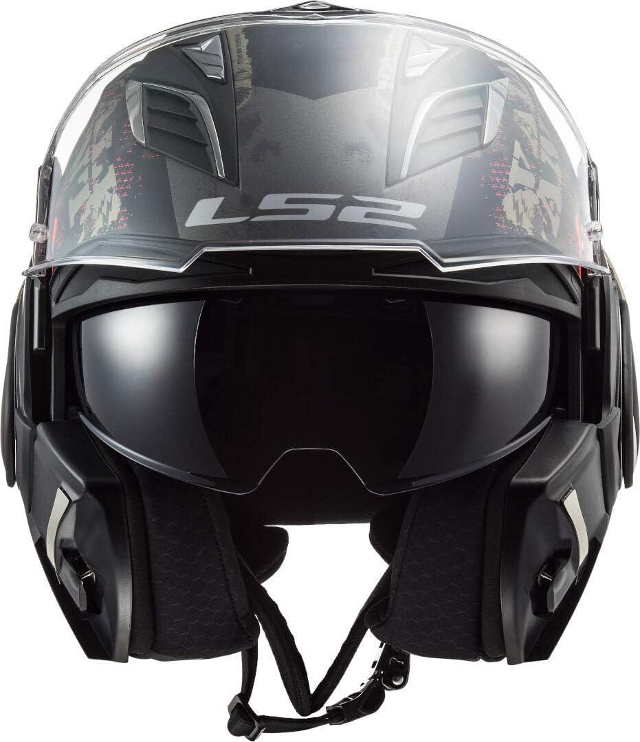 L LS2 Motorradhelm FF900 VALIANT II GRIPPER MATT TITANIUM Schwarz//Titanium