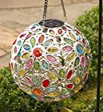 Solar Hanging Floral Jewel Ball Decorative Yard and Garden Accent 10 In Dia. Multi-Colored Crystals